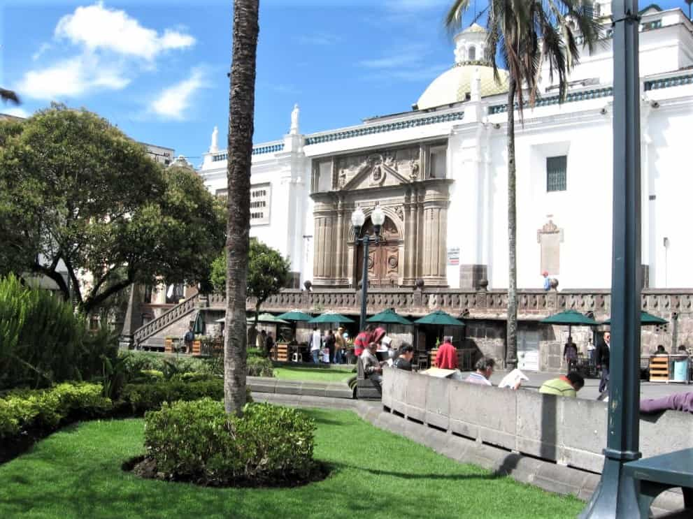 The side view of the Cathedral in Indepence Square in Quito
