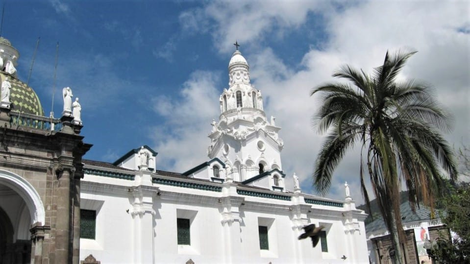 The tower of the Cathdral in Independence Square Quito