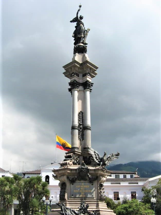 Independence statue in the main plaza of Old Town Quito