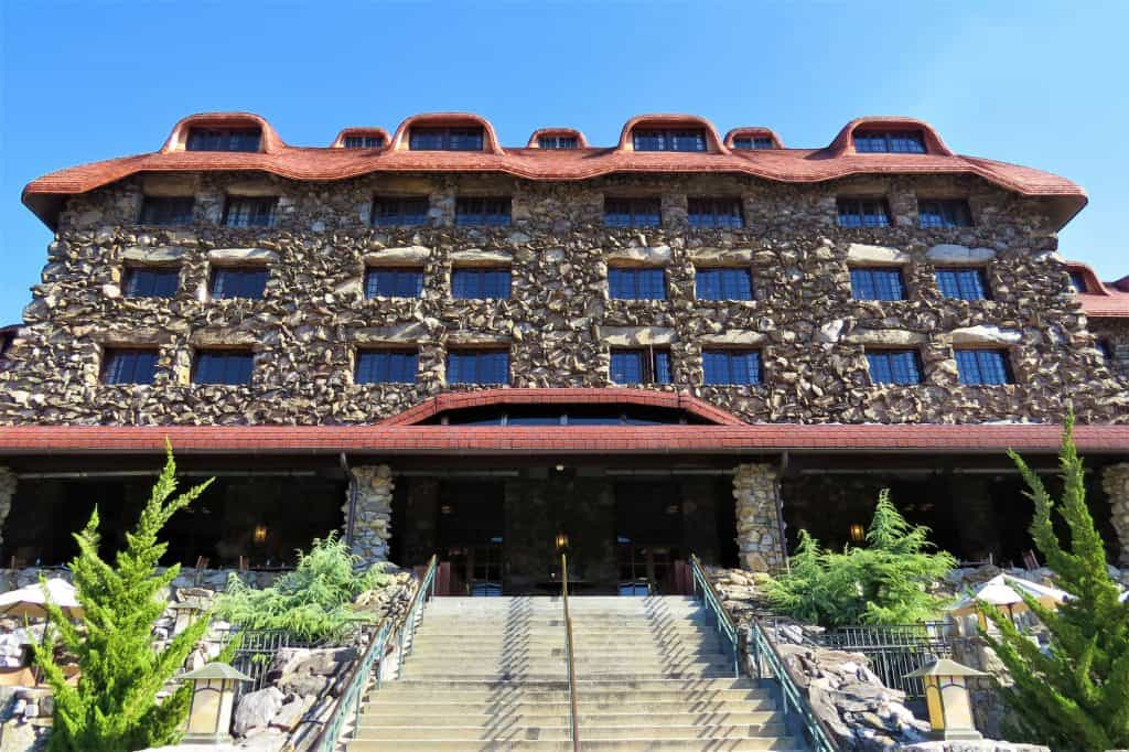 The back of the famous Omni Grove Park Inn in Asheville