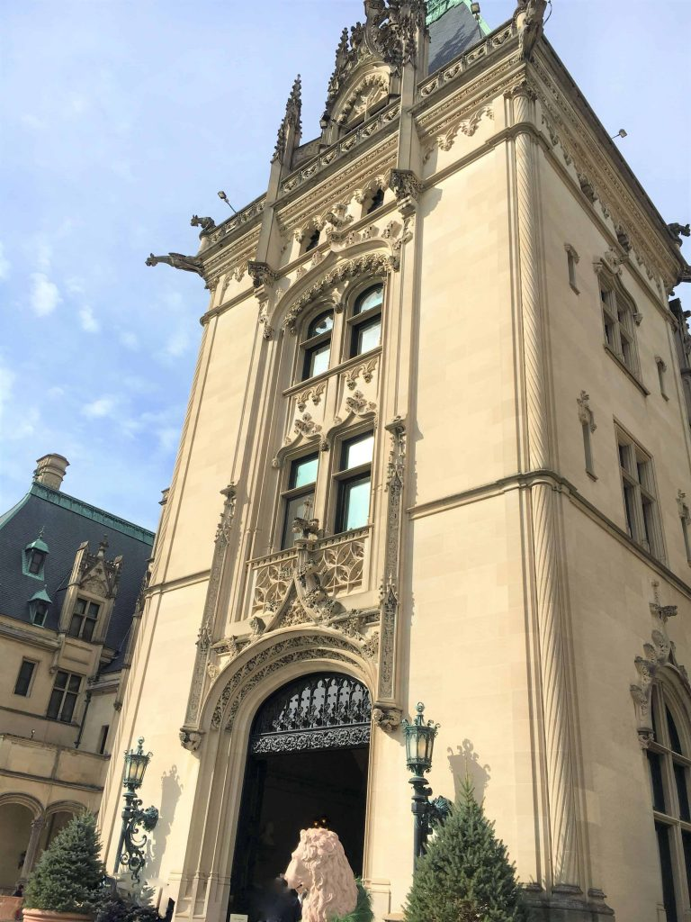 The magestic front tower of the Biltmore Estate in Asheville