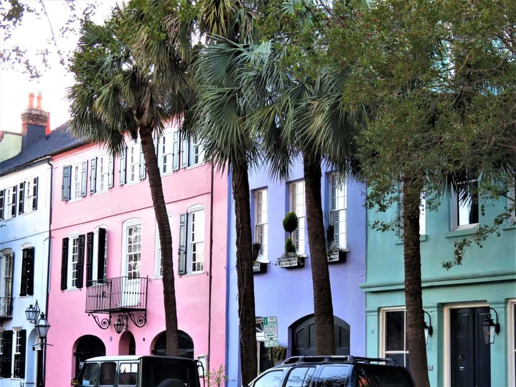 The brightly colored Rainbow Row in Charleston shows off its Barbados roots