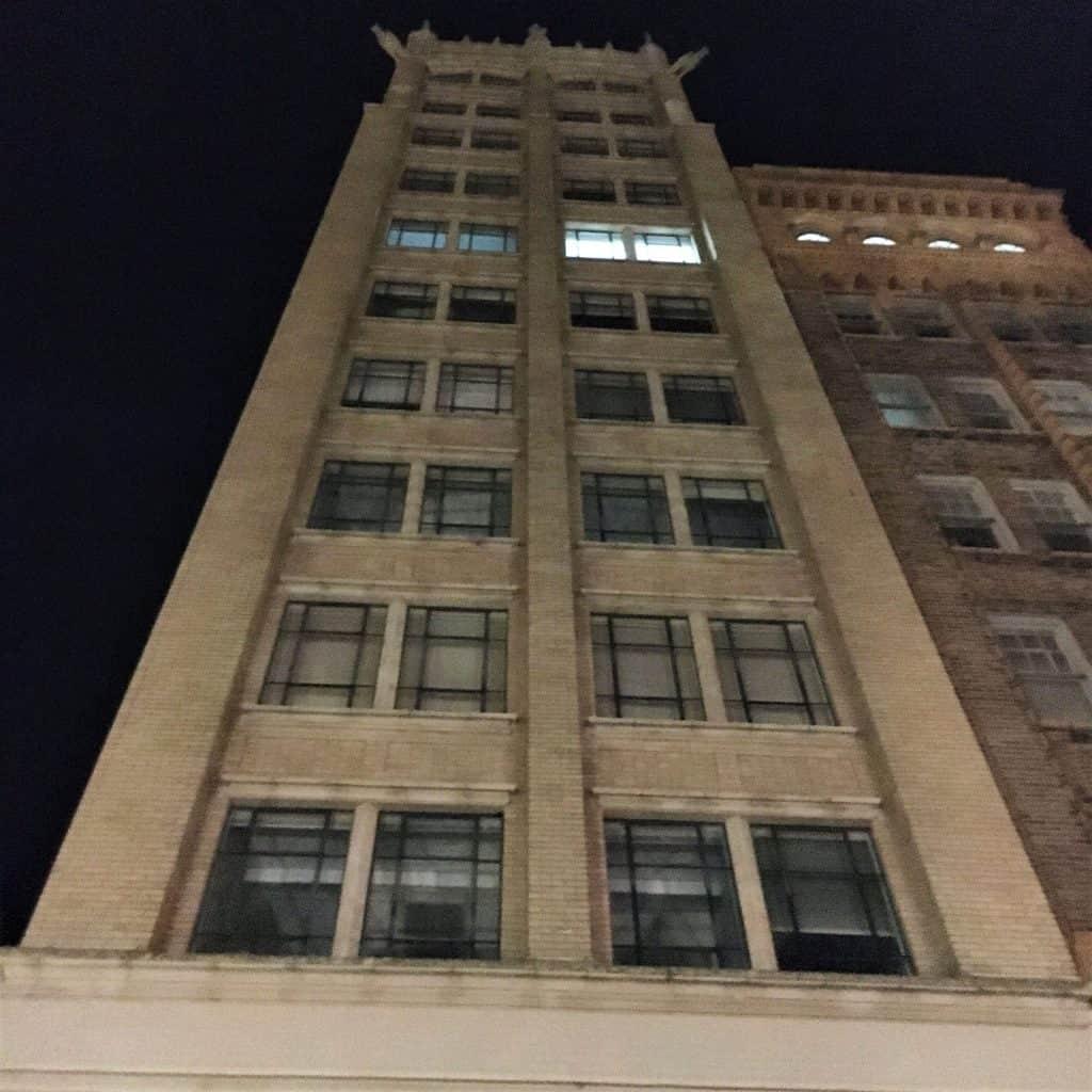 The Jackson Building at night on a Haunted Ghost Tour of Asheville