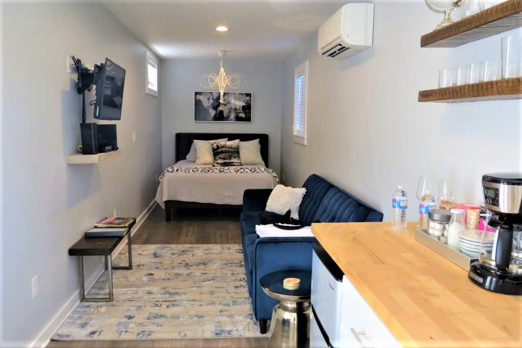 Surprising interior for the renovated storage container rental