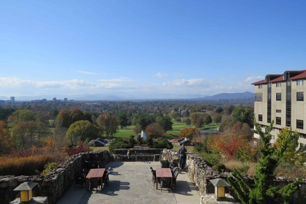 The view from the sunset terrace at Omni Grove Park Inn in Asheville