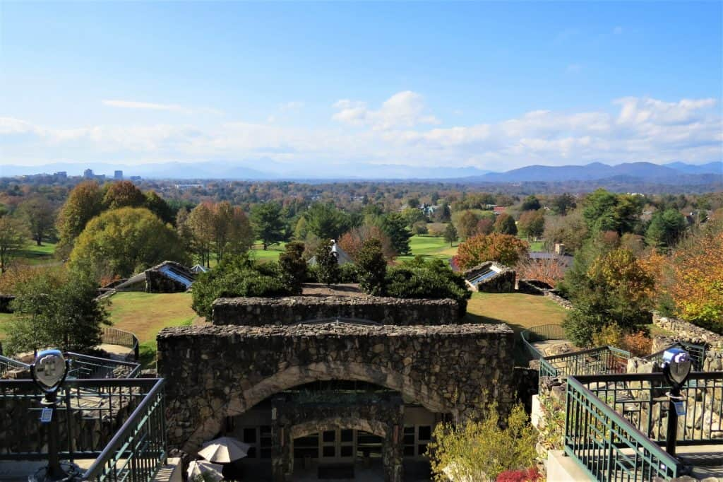 View from the Sunset Terrace at the Omni Grove Park Inn in Asheville