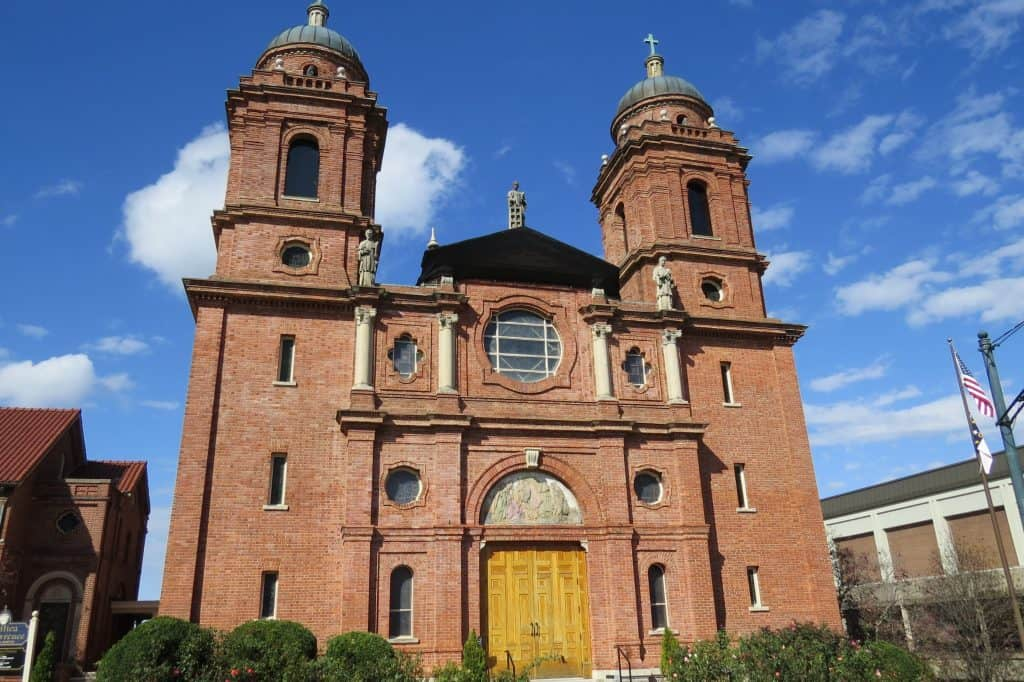 The stately exterior of the Basilica St. Lawrence in Asheville