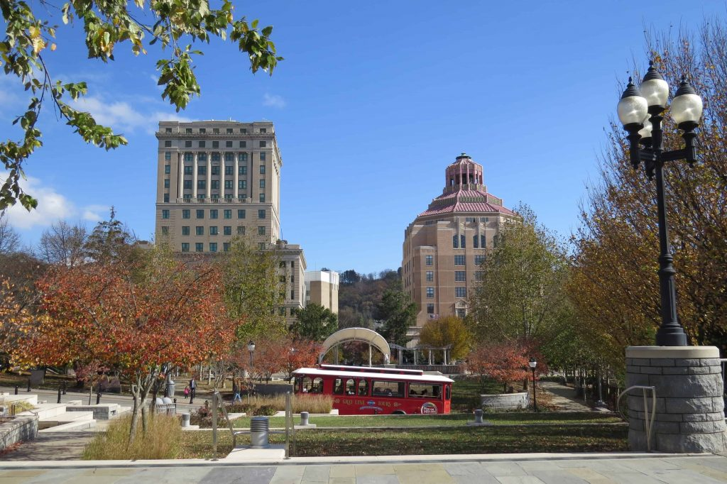 Pack Square in Asheville One of the Trolley Stops