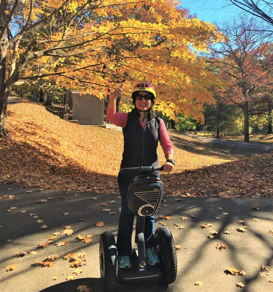 A solo traveler on a Segway tour of Asheville