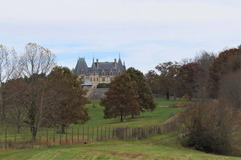 The back of the Biltmore Estate from the Meadow Trail in Asheville