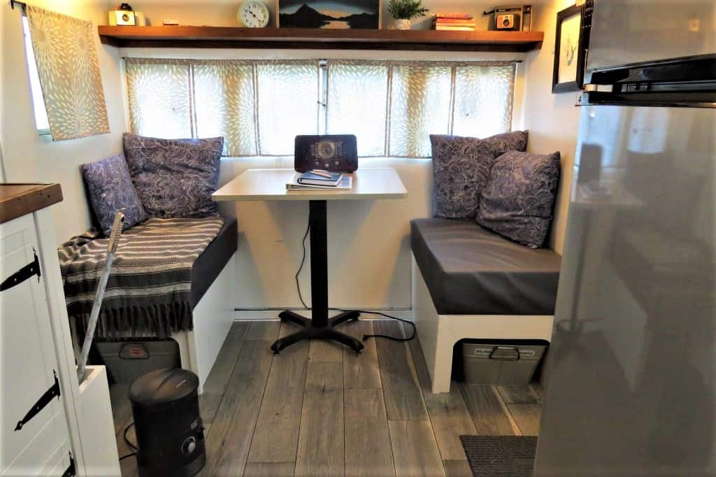 Plenty of space to sit and work in Lucy the vintage RV