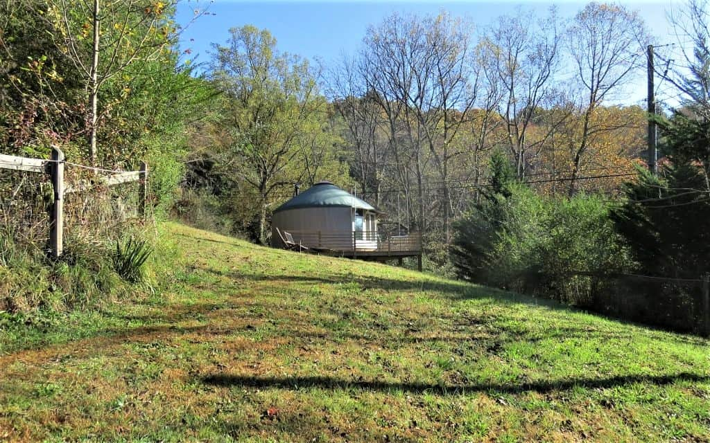 Airbnb Yurt set in the meadow with a view of the Asheville mountains