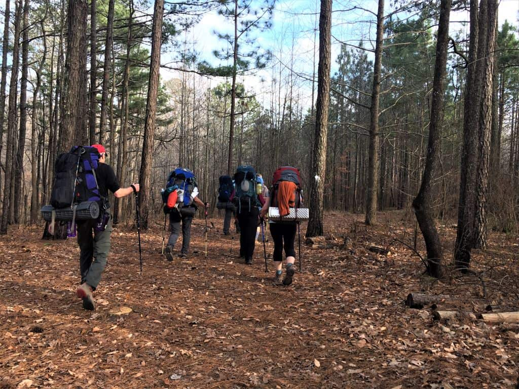 Hiking through Merchants Millpond to our campsite