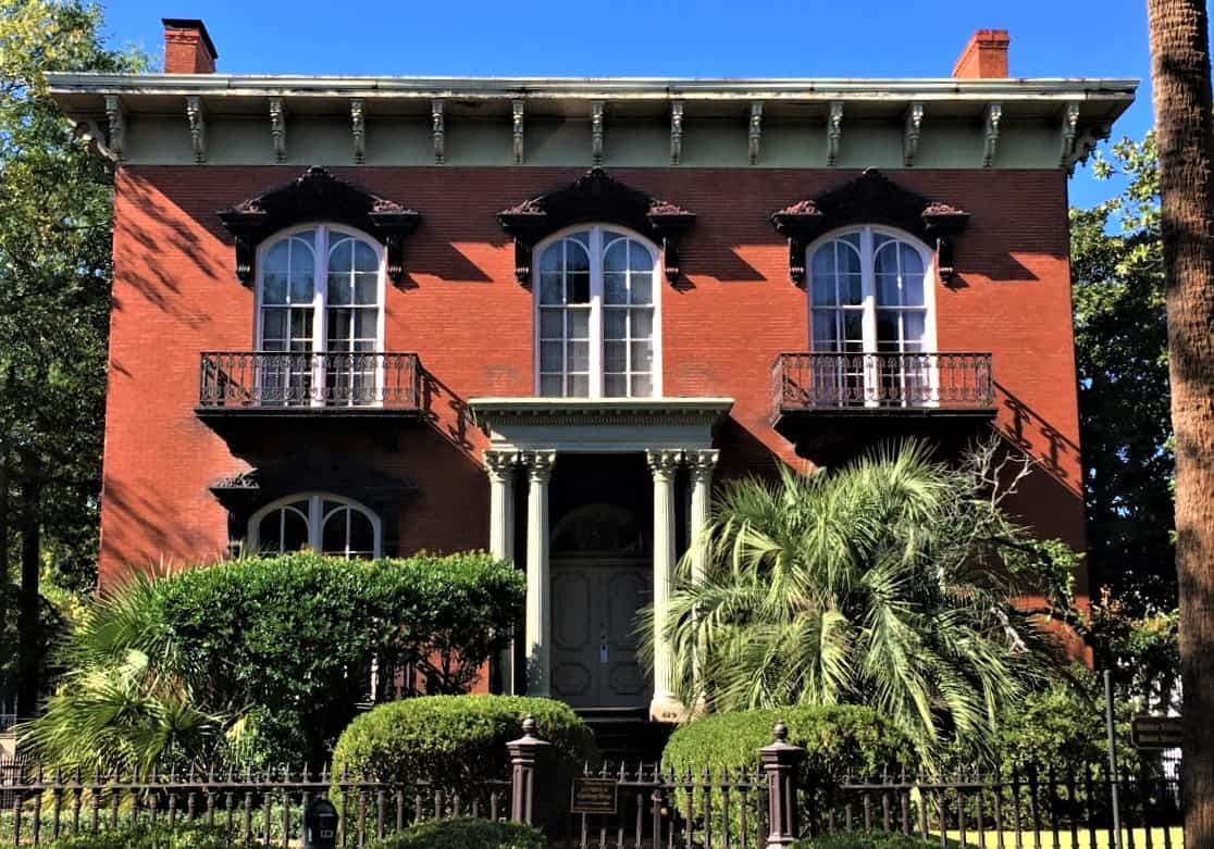 The famous Mercer Williams home in Savannah GA with its red exterior