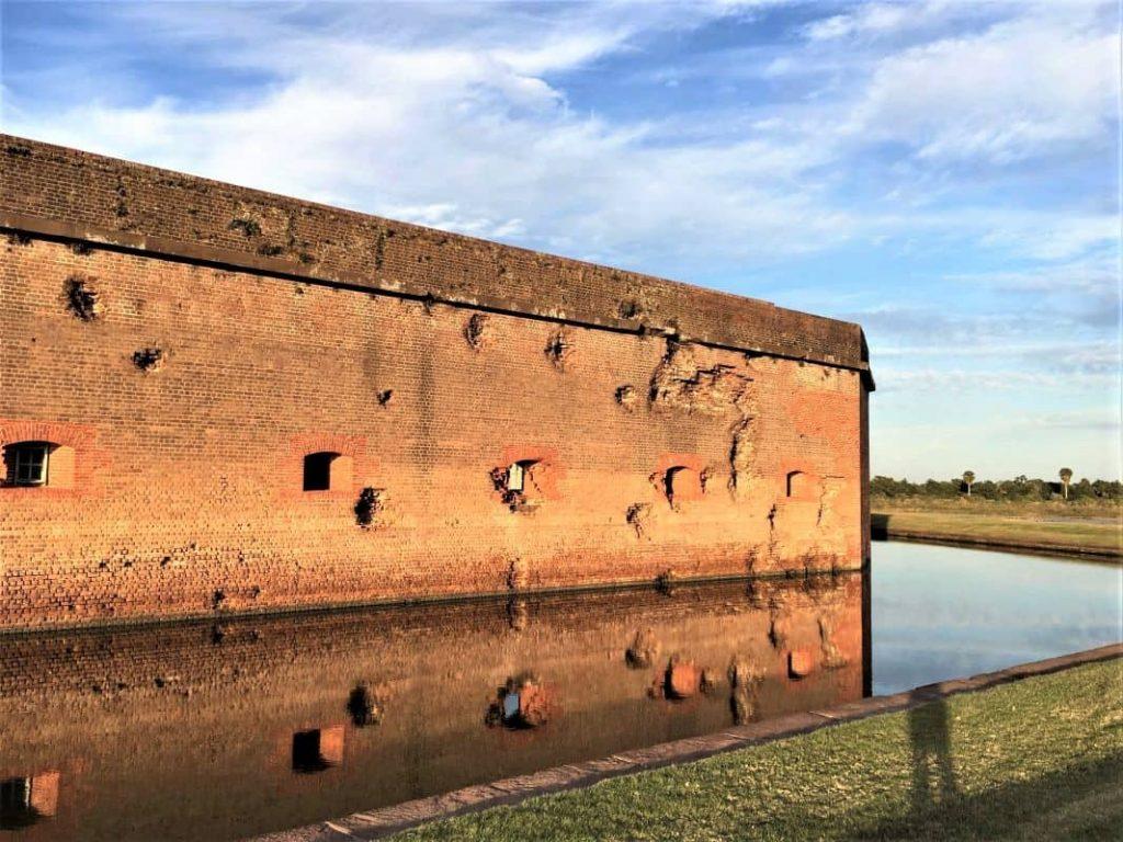 The Side of Fort Pulaski battered by mortar shells