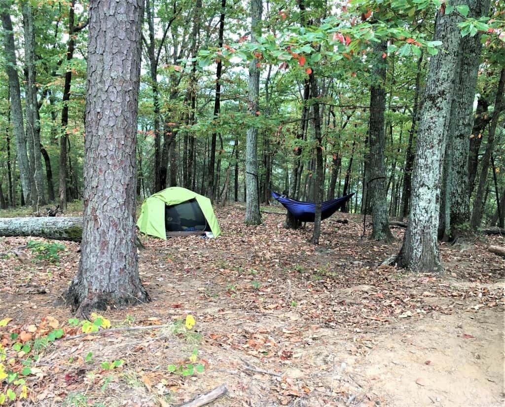 Tents up at Fox Trail campsites