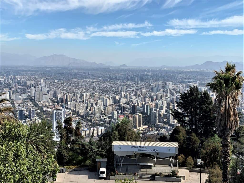 View of Santiago Chile from San Cristobal Hill