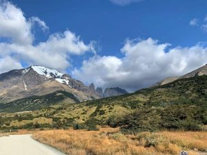 View of snow capped mountain and torres in Torres del Paine