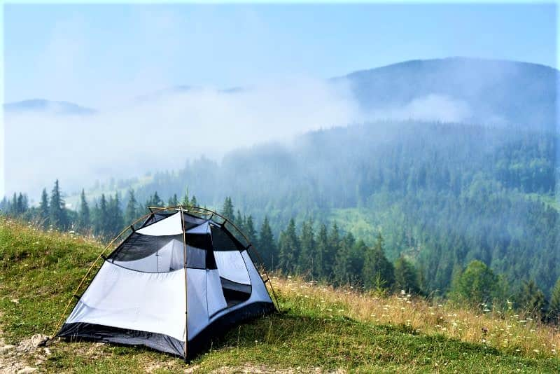 One of our favorite tents on a mountain overlooking clouds